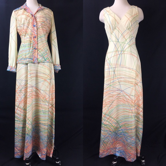 Vintage Dresses & Skirts - Vintage 70s Two Piece Cream & Neon Scribbles Dress